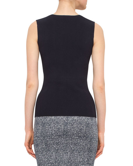 Sleeveless Slash V-Neck Top, Navy