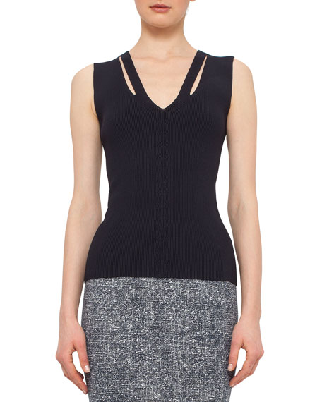 Akris punto Sleeveless Slash V-Neck Top, Navy