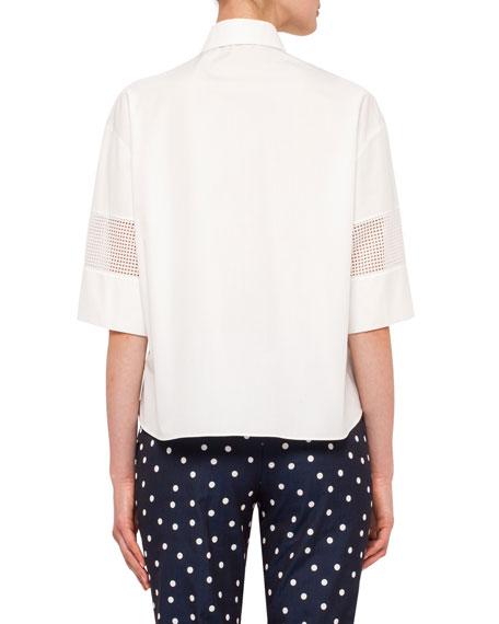 Short-Sleeve Mesh-Inset Blouse, Cream