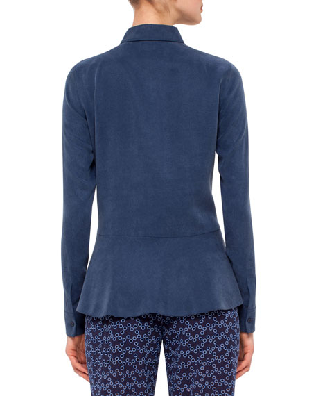 Long-Sleeve Back-Peplum Blouse, Navy