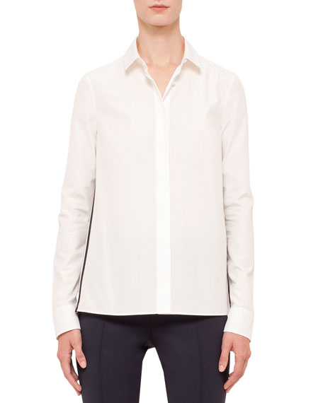 Akris punto Long-Sleeve Mesh-Inset Blouse, Cream