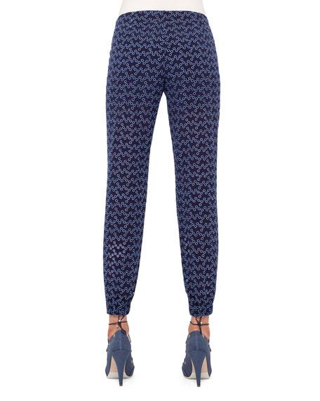 Cropped Eyelet Gym-Style Pants, Indigo/Denim