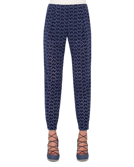 Akris punto Cropped Eyelet Gym-Style Pants, Indigo/Denim