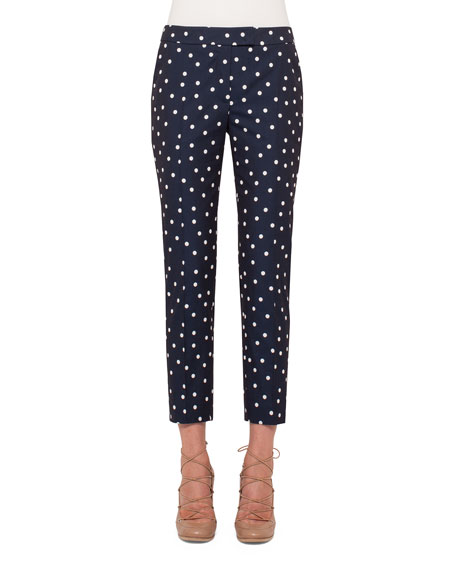 Akris punto Frankie Polka-Dot Slim-Leg Cropped Pants, Navy/Cream
