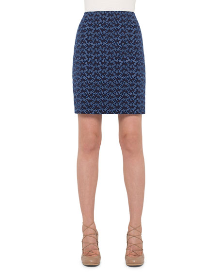 Akris punto High-Waist Eyelet Pencil Skirt, Indigo/Denim