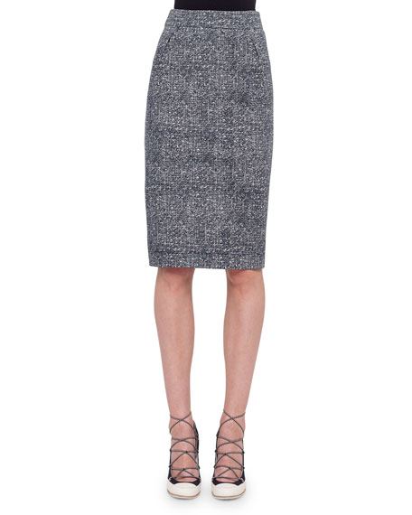 Akris punto High-Waist Darted Tweed Pencil Skirt, Navy/Cream