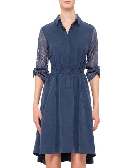 Mesh-Inset Drawstring-Waist Shirtdress, Denim