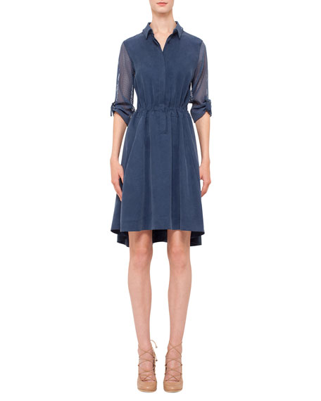 Akris punto Mesh-Inset Drawstring-Waist Shirtdress, Denim