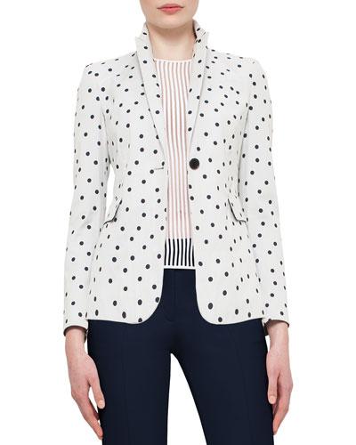 Big-Dot One-Button Blazer, Cream/Navy
