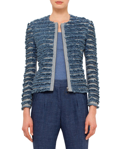 Akris punto Denim-Fringe Zip-Front Jacket, Bleached Denim