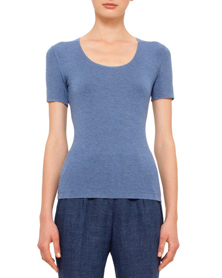 Akris punto Short-Sleeve Scoop-Neck T-Shirt