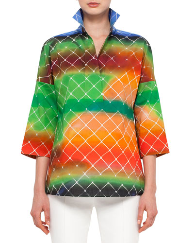 3/4-Sleeve Baseball-Net Print Blouse, Multi Colors