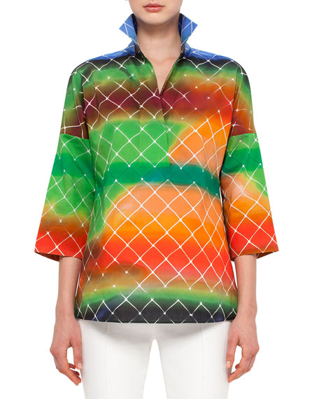 Akris punto 3/4-Sleeve Baseball-Net Print Blouse, Multi Colors