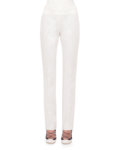 Akris punto Francoise Straight-Leg Pants, Cream