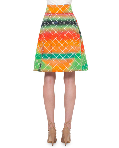 Net-Print A-Line Cotton Skirt, Multi