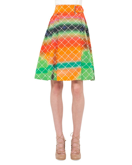 Akris punto Net-Print A-Line Cotton Skirt, Multi