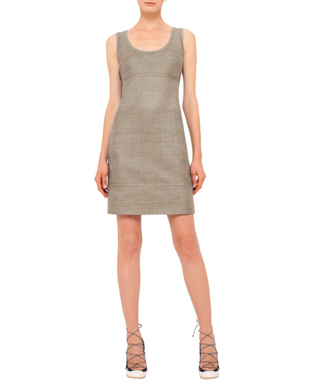 Akris punto Scoop-Neck Sleeveless Sheath Dress, Cord