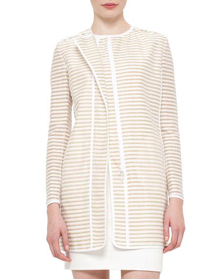 Akris punto Skinny-Striped Zip-Front Long Jacket, Cord Cream