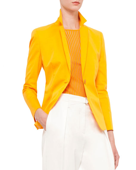 Akris punto Long-Sleeve One-Button Blazer, Tangerine
