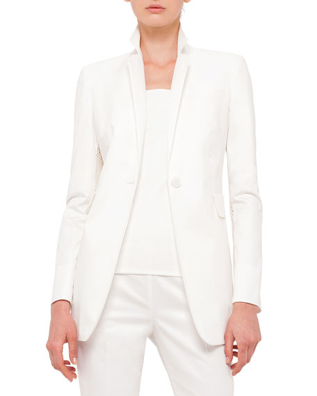Akris punto Mesh-Inset Fitted Blazer, Short-Sleeve Skinny-Striped