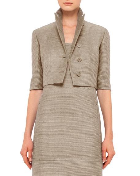 Akris punto Half-Sleeve Button-Front Cropped Jacket & Scoop-Neck