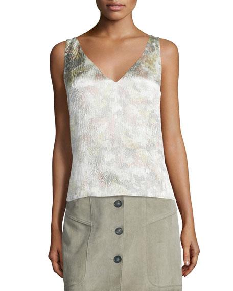 Maiyet V-Neck Cross-Back Silk Camisole, Mirage Print