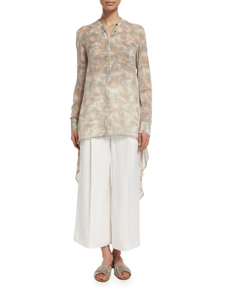 Maiyet Long-Sleeve Button-Front Silk Caftan Shirt, Mirage Print