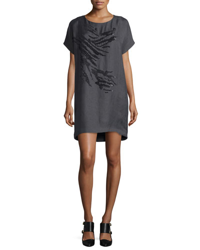 Maiyet Short-Sleeve Embellished Cocoon Dress, Anthracite