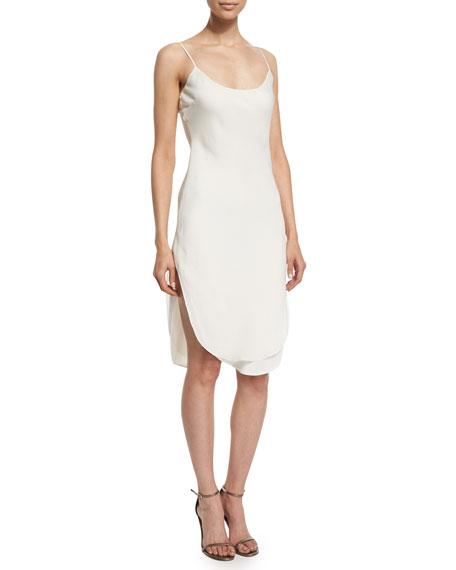 Sleeveless Slip Dress W/Side Slits, Chalk