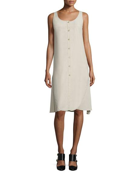 Maiyet Sleeveless Button-Front A-Line Dress, Sand