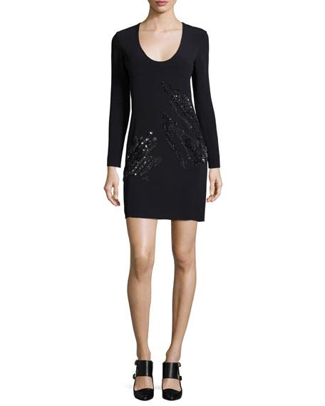 Maiyet Long-Sleeve U-Neck Embellished Sheath Dress, Black