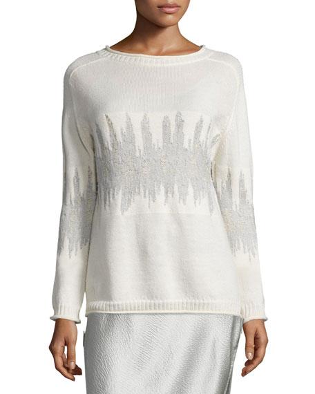 Maiyet Long-Sleeve Wave-Jacquard Sweater, Ivory