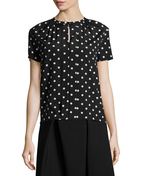 Carolina Herrera Polka Dot Short Sleeve Blouse Black White