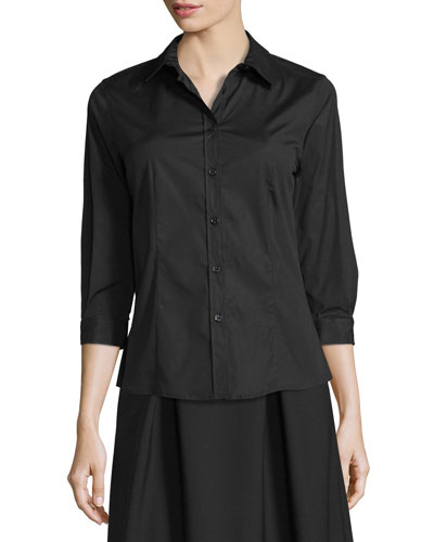 Poplin 3/4-Sleeve Blouse, Black