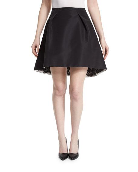 Carolina Herrera Pleated-Front Lace-Trim Skirt, Black