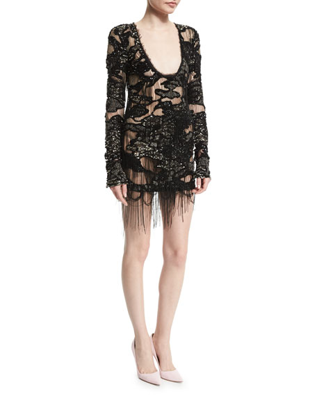 Roberto Cavalli Long-Sleeve Embellished Dress, Black