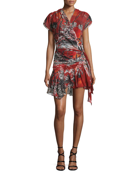 Roberto Cavalli Cap-Sleeve Printed Wrap Dress, Red Pattern