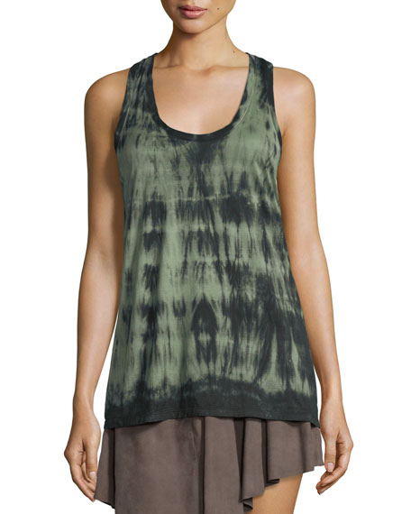 Roberto Cavalli Scoop-Neck Tie-Dye Tank Top, Green Pattern