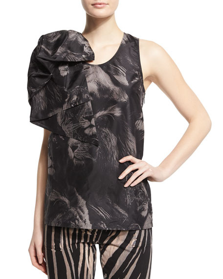 Roberto Cavalli Scoop-Neck Lion-Print Tank W/Bow, Black Pattern