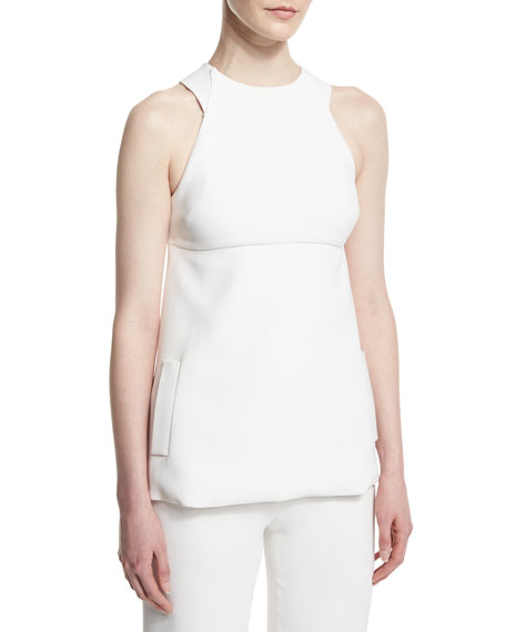 Cushnie et Ochs Sleeveless Bow-Back Blouse, White