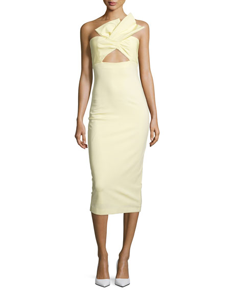 Cushnie et Ochs Twist-Front Bustier Midi Dress, Lemon