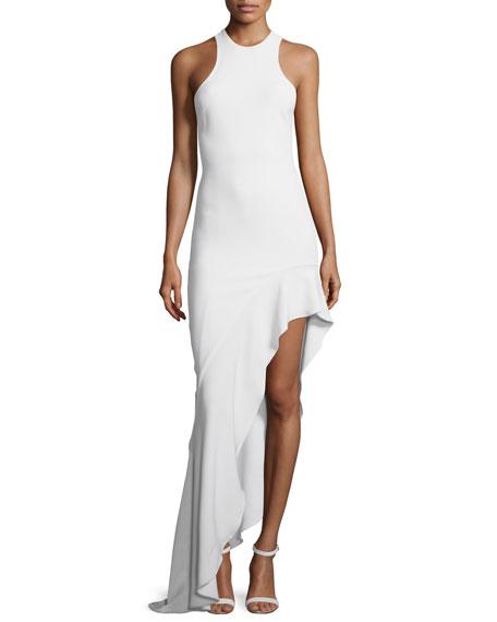 Cushnie et Ochs Sleeveless Asymmetric Ruffle-Hem Gown, White