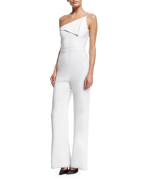 Cushnie Et Ochs One-Shoulder Wide-Leg Jumpsuit, White