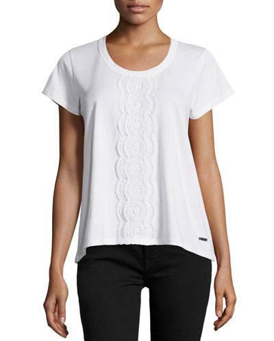 Lace-Bib Tee, White