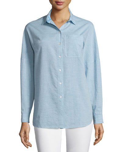 Oversized Long-Sleeve Shirt, Pale Blue