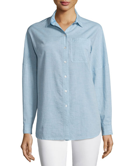 Burberry Brit Oversized Long-Sleeve Shirt, Pale Blue