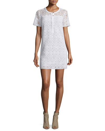 Alanna Short-Sleeve Lace Dress