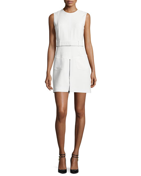 TOM FORD Sleeveless Zip-Front Sheath Dress, Chalk