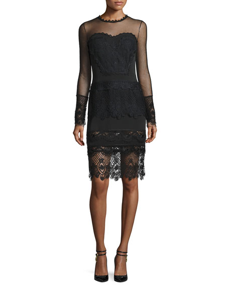TOM FORD Long-Sleeve Lace-Trim Sheath Dress, Black