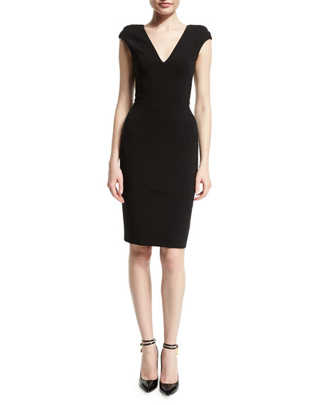 Cap-Sleeve V-Neck Sheath Dress, Black